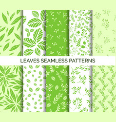 Green leaves seamless pattern set of backgrounds vector