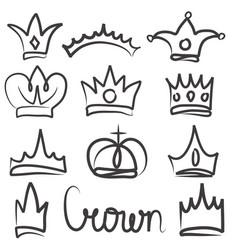 Hand drawn crowns logo and icon design set vector