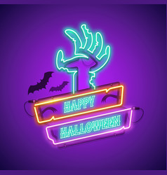 happy halloween neon sign with zombie hand vector image