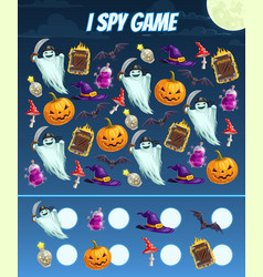 I spy game for kids with halloween characters vector