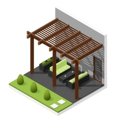 Inner courtyard isometric icon set vector image