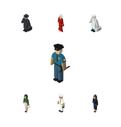Isometric person set of pedagogue medic officer vector