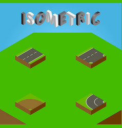 Isometric way set of driveway sand way vector