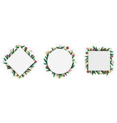 large set geometric frames made christmas vector image