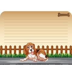 Line paper design with puppy on sidewalk vector