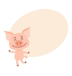 Little pig dancing on two rear legs with eyes vector