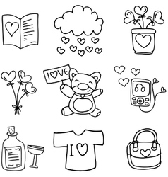 Love with hand draw set doodles vector
