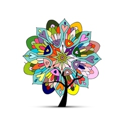 Mandala tree floral sketch for your design vector