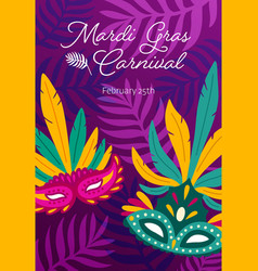 Mardi gras poster or flyer template with tropical vector