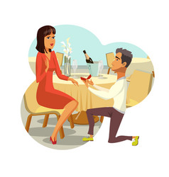 Marriage proposal engagement drawing vector