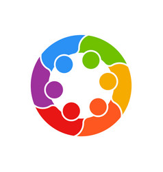 meeting people circle business logo vector image