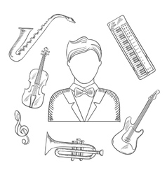 Musical hand drawn icons and objects vector