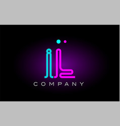 Neon lights alphabet il i l letter logo icon vector
