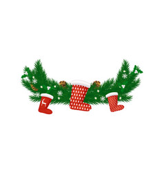 new year decoration spruce branch santa stockings vector image