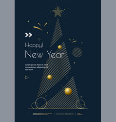 New year greeting card design with christmas tree vector