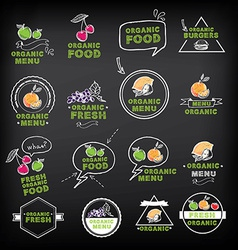 Organic food icons vegan symbols vector