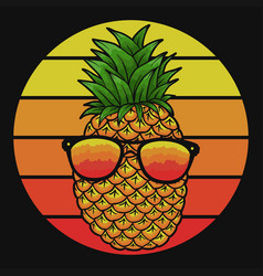 Pineapple eyeglasses sunset vector