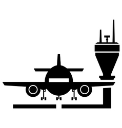 Plane on airport icon vector