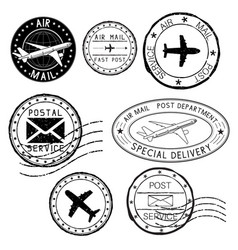 Postal elements postmarks ink stamps vector