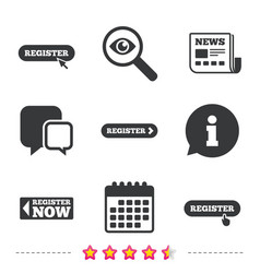 register with hand pointer icon mouse cursor vector image vector image