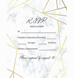 rsvp design card template vector image