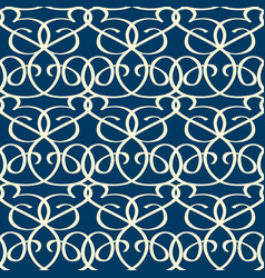 Seamless blue background with white twisting tapes vector