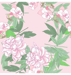 Seamless pattern with pink peonies and flowers vector image