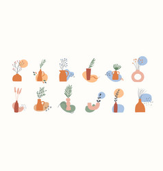set clay vases with potted dry plants leaves vector image