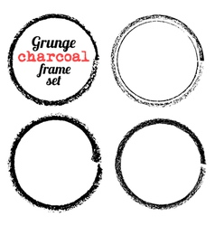 set four grunge circle charcoal frames vector image