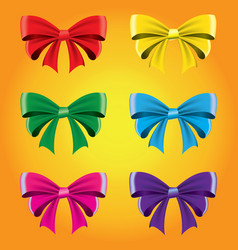 set of colored bows image decorative element vector image