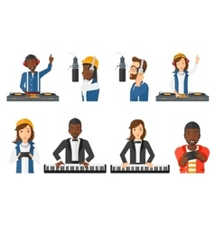 Set of musicians people characters vector