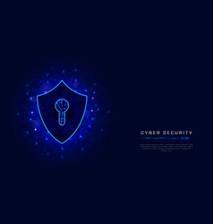 shield with keyhole cyber security banner vector image