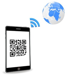 Smart phone with qr code vector