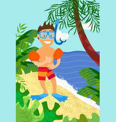 smiling boy in diving mask sleeves and flippers vector image