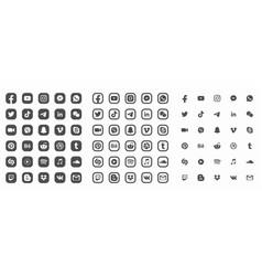 Social media modern flat web icons collection vector