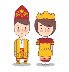 south kalimantan traditional national clothes of vector image