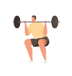strong man with bending knees doing high bar squat vector image