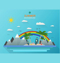 stylish of outdoor summer background with rainbow vector image