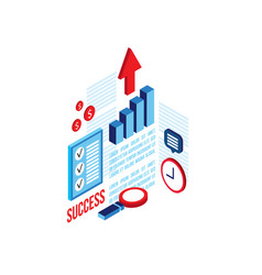 successful business concept 3d isometric flat vector image