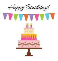 sweet cake for birthday celebration vector image