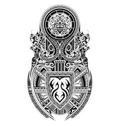 Tribal art shoulder and sleeve tattoo design vector