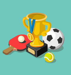 Trophy cup with sport balls vector