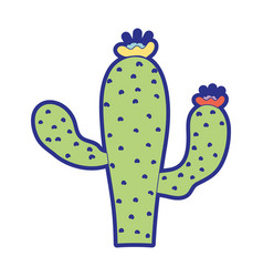 Tropical cactus with flowers and petals vector