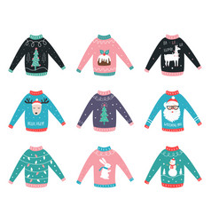 ugly sweaters set for party invitations and vector image