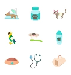 Veterinary things icons set cartoon style vector