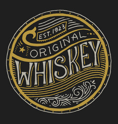 Vintage american whiskey badge alcoholic label vector
