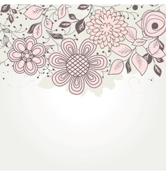 Vintage floral card with handdrawn flowers vector image