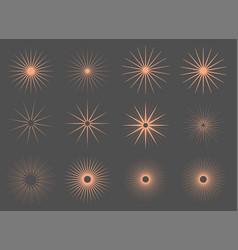 vintage sun burst rays set tweleve vector image