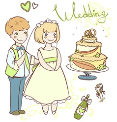 wedding set with newlyweds vector image
