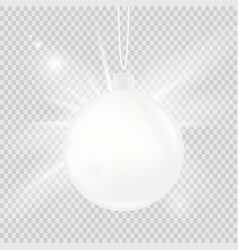 white christmas ball isolated on a transparent vector image